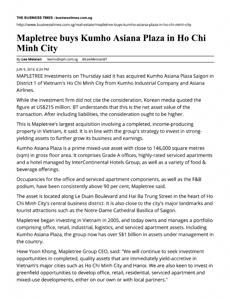 Mapletree buys Kumho Asiana Plaza in Ho__-01